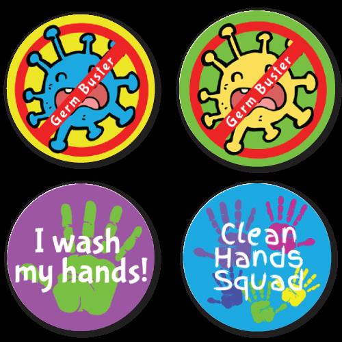 Germ Buster - 4 Alternating Designs Stickers