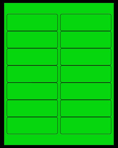 """4"""" X 1.33"""" Fluorescent Green Sheets"""