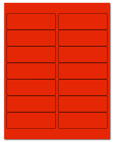 """4"""" X 1.33"""" Fluorescent Red Sheets"""