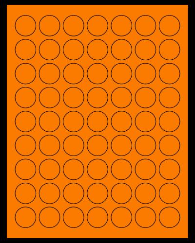 "1"" Dia. Fluorescent Orange Sheets"