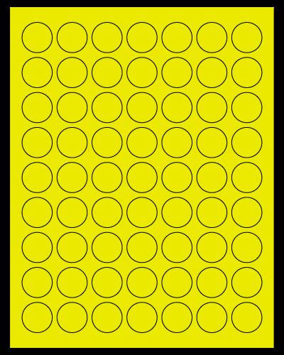 "1"" Dia. Fluorescent Yellow Sheets"