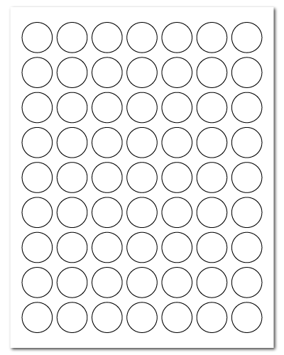 1 Inch Circle White Matte, 63 up, 100 Sheets