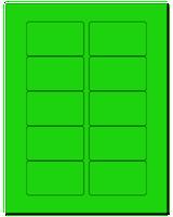 """3.0625"""" X 1.8375"""" Fluorescent Green Sheets"""