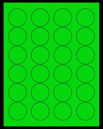 "1.625"" Dia. Fluorescent Green Sheets"