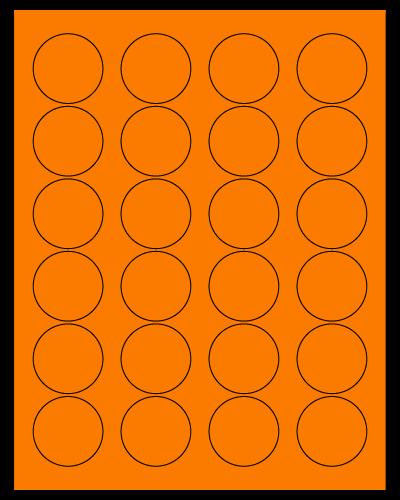 "1.625"" Dia. Fluorescent Orange Sheets"