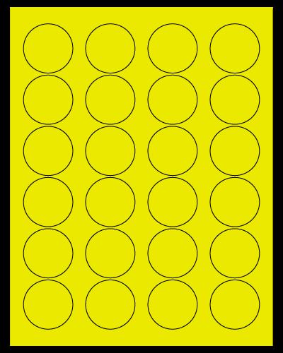 "1.625"" Dia. Fluorescent Yellow Sheets"