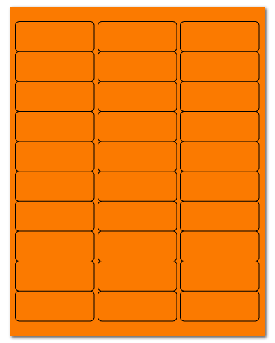 "2.625"" X 1"" Fluorescent Orange Sheets"