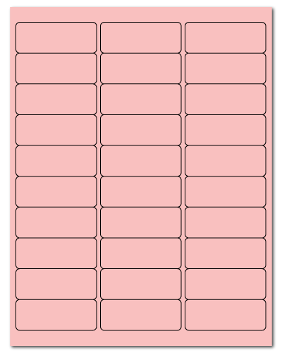2.625 x 1 Pastel Pink, 30 up, 500 Sheets
