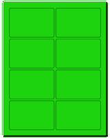 """3.75"""" X 2.438"""" Fluorescent Green Sheets"""