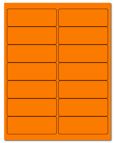 4 x 1.4375 Fluorescent Orange, 14 up, 100 Sheets
