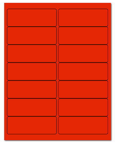 """4"""" X 1.4375"""" Fluorescent Red Sheets"""