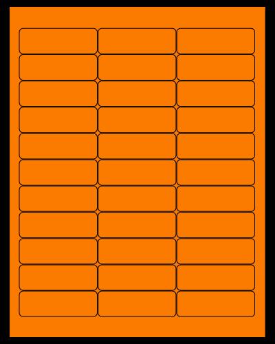 "2.625"" X 0.875"" Fluorescent Orange Sheets"