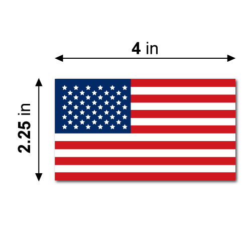 4 x 2.25 American Flag Rectangles Stickers Dimensions