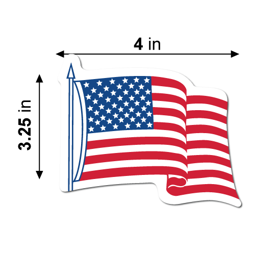 "4"" x 3.25"" Waving American Flag Shape Stickers Dimensions"