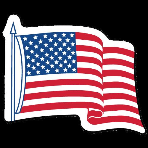 "4"" x 3.25"" Waving American Flag Shape Stickers"