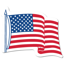 "4"" x 3.25"" Waving American Flag Shape Stickers"