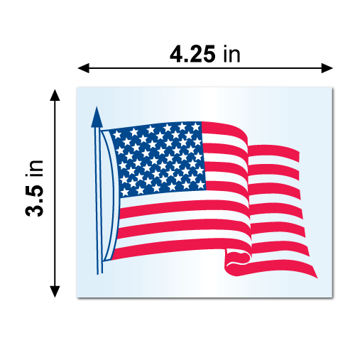 """4.25"""" x 3.5"""" Static Cling American Flag Stickers Dimensions"""