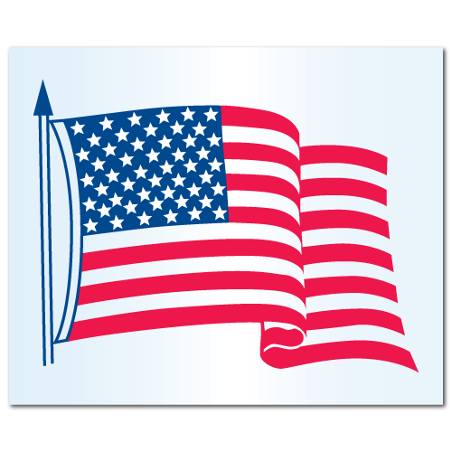 """4.25"""" x 3.5"""" Static Cling American Flag Stickers"""