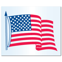 "4.25"" x 3.5"" Static Cling American Flag Stickers"