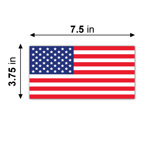 7.5 x 3.75 American Flag Rectangles Stickers Dimensions
