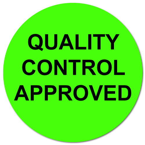 1 Inch Circle, Quality Control Approved, Green Dayglo Labels, Roll of 1,000 Stickers