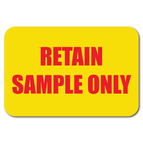"""Retain Sample Only"" Circle Quality Control Stickers"