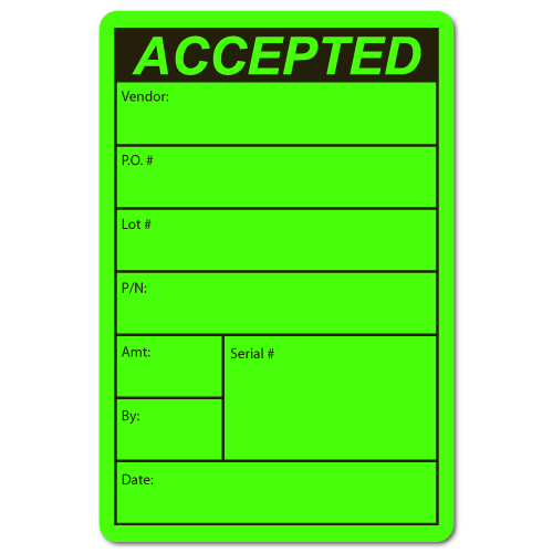 """""""ACCEPTED, Vendor, Lot #"""" Quality Control Stickers"""