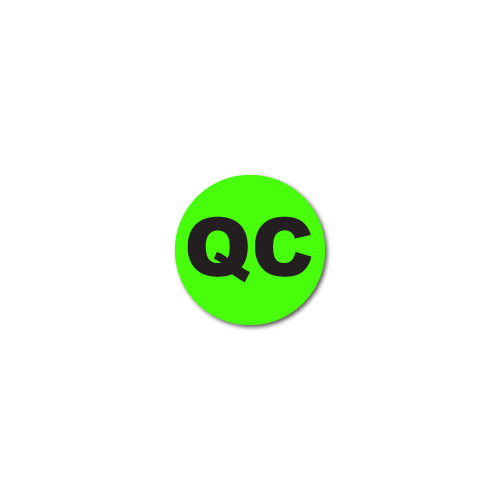 0.25 Inch Circle, Quality Control QC Green Dayglo Labels, Roll of 100 Stickers