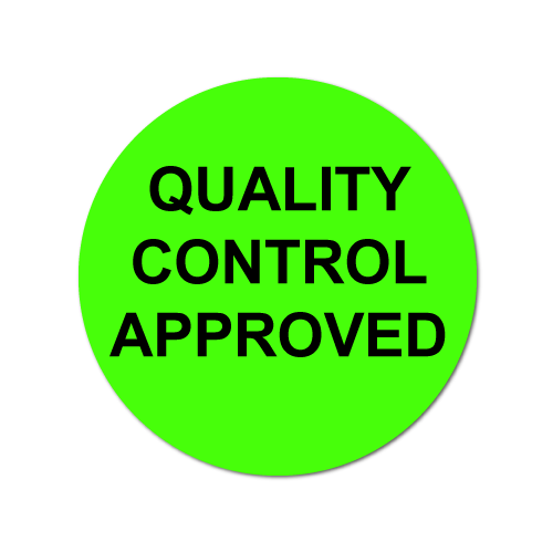 0.75 Inch Circle, Quality Control Approved, Green Dayglo Labels, Roll of 1,000 Stickers