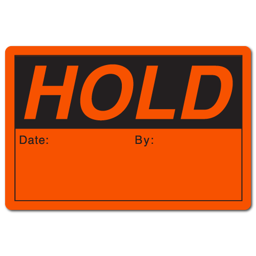 HOLD 2 x 3 Rectangle Black on Fluorescent Red - Roll of 50