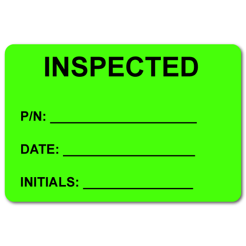 """INSPECTED 2"""" x 3"""" Rectangle Black on Fluorescent Green Stickers"""