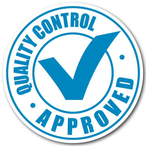 """""""Quality Control Approved"""" Blue Stickers"""