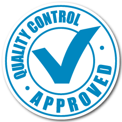 """Quality Control Approved"" Blue Stickers"