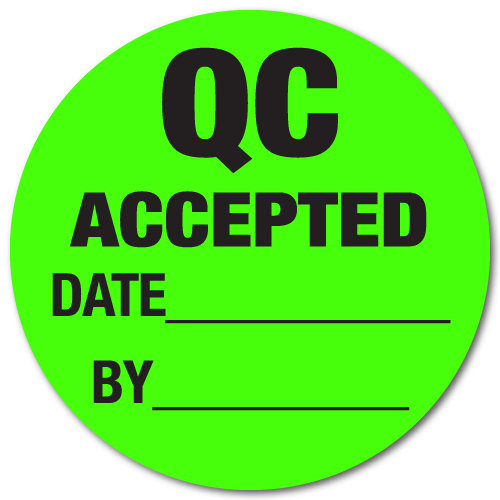 3 Inch Circle QC Accepted / Date / By Green Dayglo Labels - Roll of 1,000