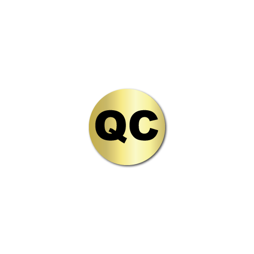 """QC"" Quality Control Gold Stickers"