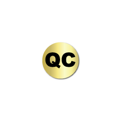 """""""QC"""" Quality Control Gold Stickers"""