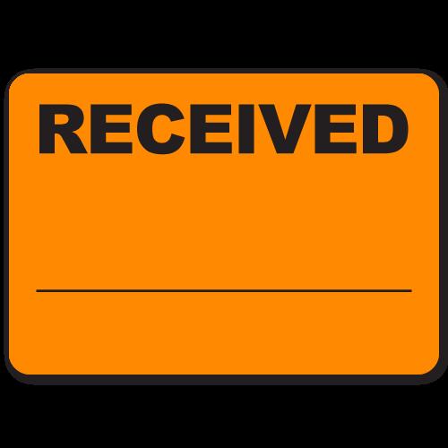"Received 2.5"" x 1.75"" Black on Fluorescent Orange Labels"