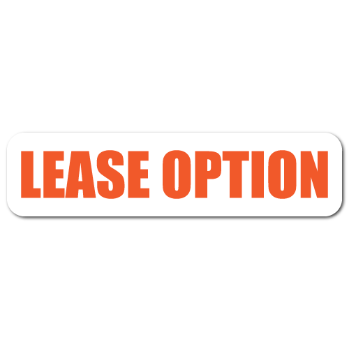 2 x 0.5 Lease Option, Orange on White Background, Roll of 100 Stickers