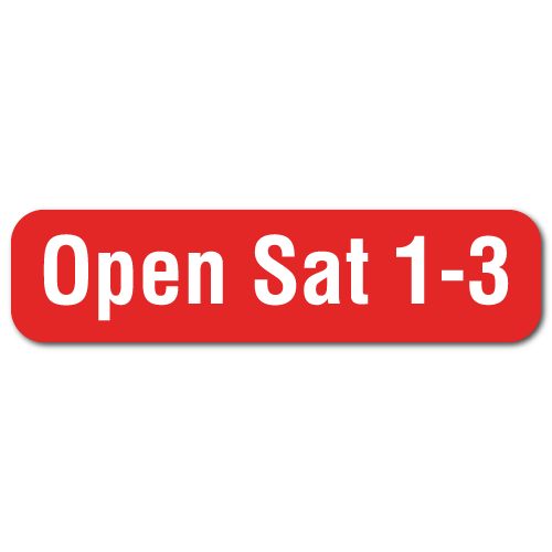 Open Sat 1-3 - 2 x 0.5 Stickers