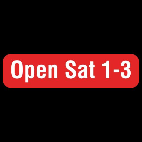 Open Sat 1-3 - 2 x 0.5 Stickers