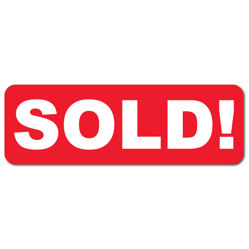 1.5 x 0.5 SOLD!, Red Background, Roll of 100 Stickers
