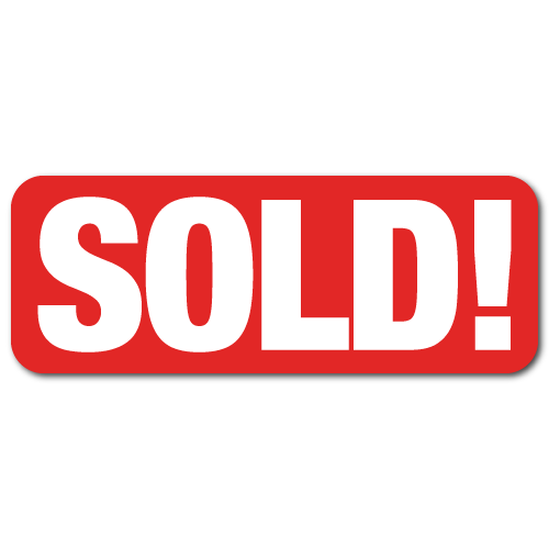 2 x 0.75 SOLD!, Red Background, Roll of 500 Stickers