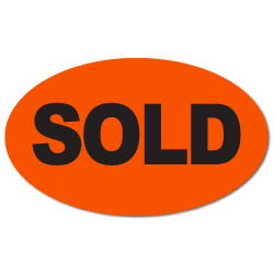 """SOLD"" Oval Fluorescent Stickers"