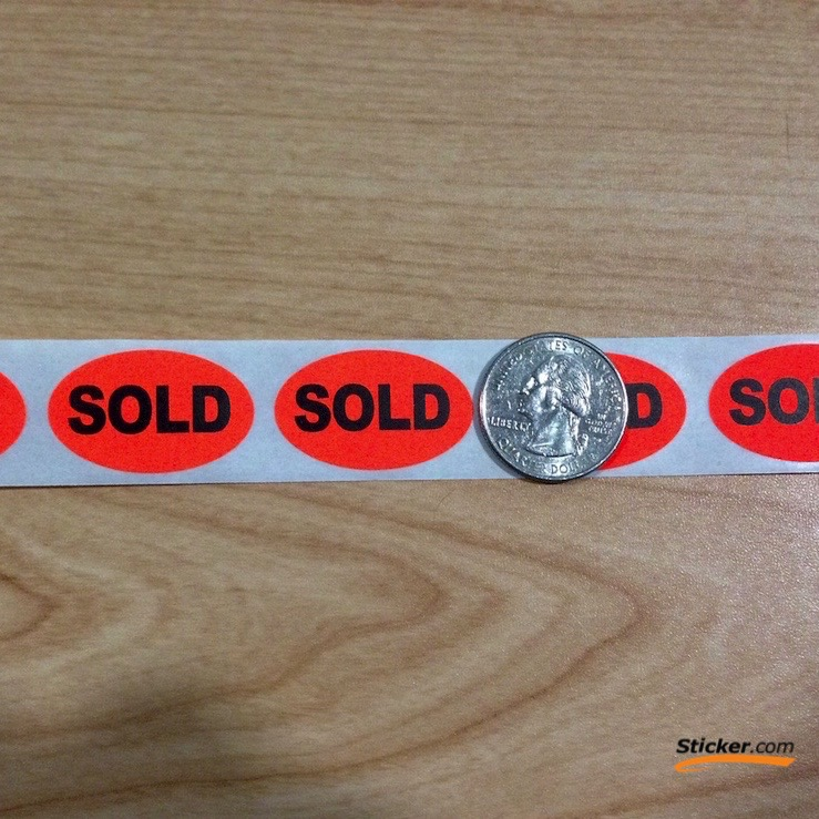 """""""SOLD"""" Oval Fluorescent Stickers"""