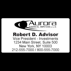Custom Stickertape™ Labels for Aurora Financial Services