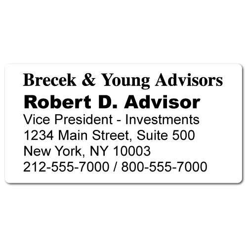 Custom Stickertape™ Labels for Brecek & Young Advisors