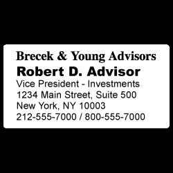 Custom Stickertape™ Labels for Brecek & Young Advisors