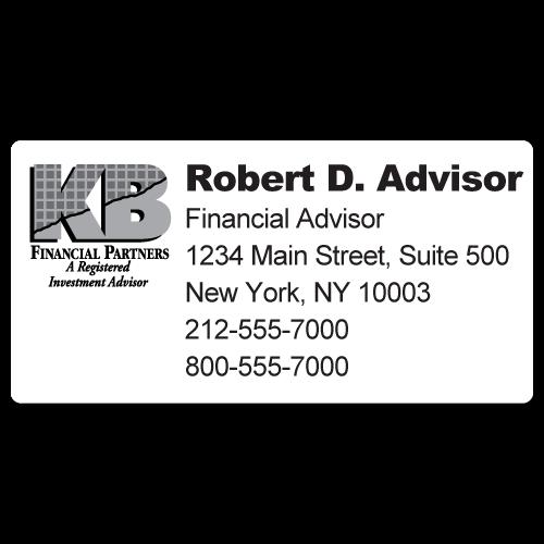 Custom Stickertape™ Labels for KB Financial Partners
