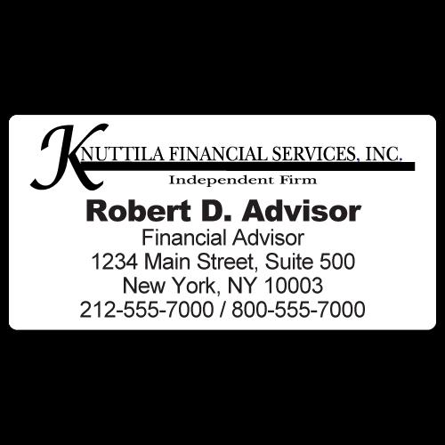 Custom Stickertape™ Labels for Knuttila Financial Services