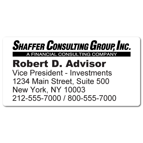 Custom Stickertape™ Labels for Shaffer Consulting Group, Inc